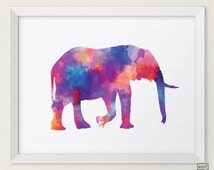 Elephant Watercolor Print, Elephant Painting, Watercolor Elehant Print, Watercolor Animal Print, Elephant Print Watercolor Painting