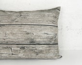 Barnwood Pet Bed Cover, Small / Medium Floor Pillow Case - Cat / Dog Bed Liner in Grey, Natural Beige and Black - Modern Rustic Home Decor