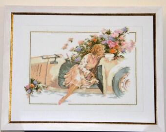 "Handmade Cross-stitch embroidery ""Dame a la Bugatti"" by Lanarte"