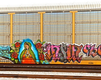 Graffiti Is My Religion: Train art, graffiti, frame not included. Photographed & printed by Frank Heflin
