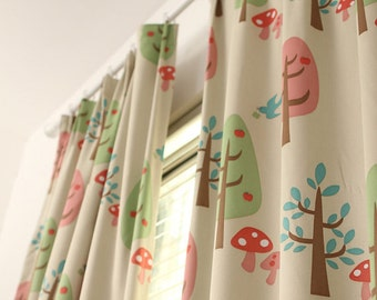 A pair of triple woven fabric curtain panels for kid 39 s for Curtain fabric for baby nursery