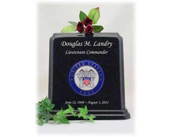 Black Granite Military Urn - Navy Urn Emblem