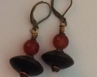 Antiqued Brass Leverback Wood and Stone Bead Earrings