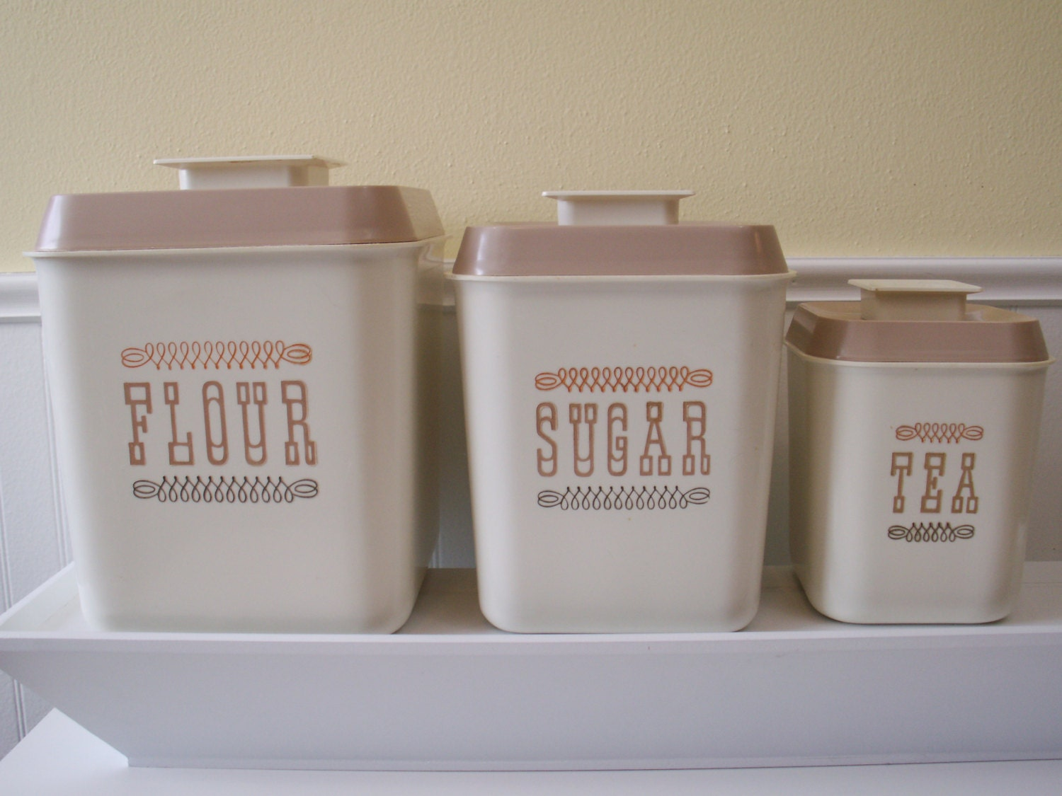 vintage kitchen canisters flour sugar and tea by enquirewithin vintage aluminum kitchen canister set retro mid century