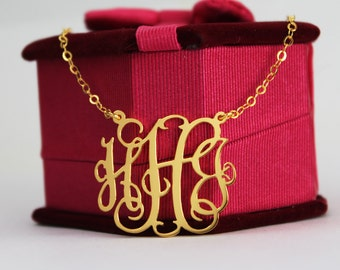Monogrammed necklace, 1.25 inch gold monogram necklace