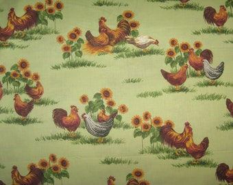 Handmade Colorful Chicken Sunflower Grass Kitchen Window Curtain Valance