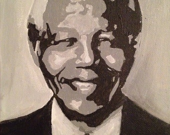 Black and White painting of Nelson Mandela black history month