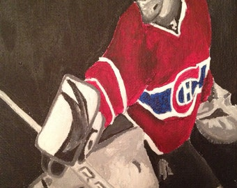 Black White Red painting of Carey Price, Habs Montreal. Go Habs Go, Habs painting, habs jersey, fathers day