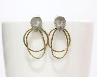 Silver Leaves Post Earrings, Brass Dangle Ring Earrings, Post earrings