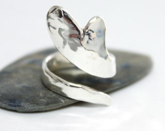 Hammered Heart Ring, Statement Ring, Sterling Silver Shiny Heart Ring, Rustic Heart Ring, Silver Ring, Hammered Ring