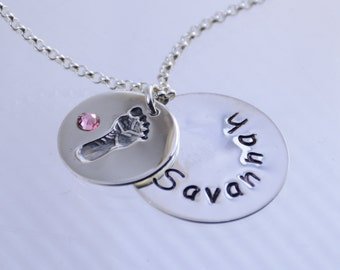 Personalized new baby necklace, New mommy necklace, Sterling silver necklace and disc,