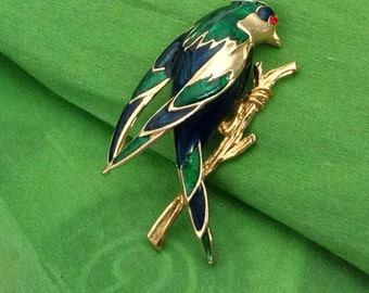 Colorful Metal Parrot Brooch