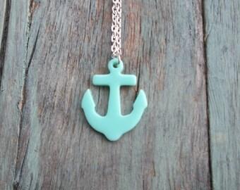 Mint Anchor Necklace