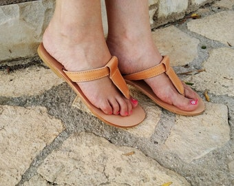 Handmade Natural Leather Thong Sandal - Leather Sandals