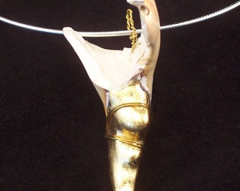 """hand gilded 23k gold leaf crab claw shell necklace on sterling silver chain#15 claw 2 3/4"""", chain 16"""""""