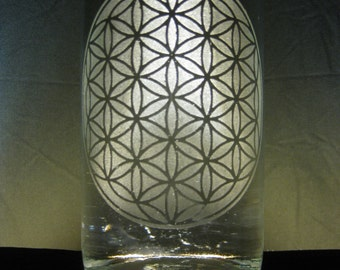 Flower of Life-- Etched Glass Water Bottle