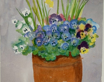 Purple Pansies in a pot, Garden Flowers, plus daffodil, Original Watercolour Painting, Floral, Impressionist 10 x 13 Inches, Ready to Frame