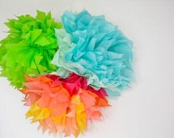 3 paper flower pom poms set -- lime,aquamarine & sunshine  --party / nursery/ kids room decoration