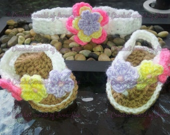 Baby girl  crochet shoes sandals with flowers, flipflop, gladiator 0-3 months, MADE TO ORDER