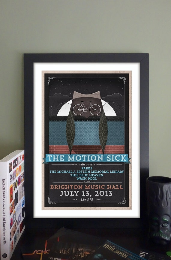 "The Motion Sick Gig Poster // Brighton Music Hall, Brighton MA 13""x19"""
