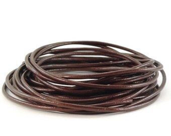 2mm Red Brown Leather Cord 10 Yards