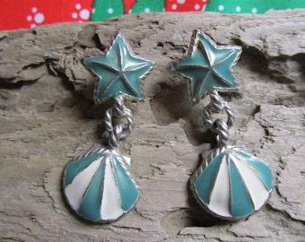 Beach Seashore Earrings Starfish Shell Design Whimsical Silver Tone
