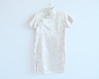 Chinese tunic-dress / gold / satin / Size 14