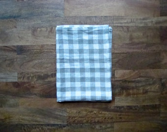 Set of 2 Linen Dish Towels || Gray and White Gingham