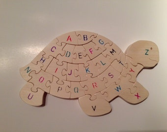 Wooden Alphabet Turtle Puzzle