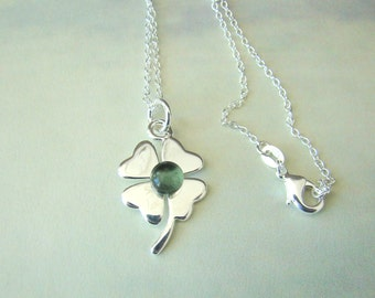 Sterling Silver Shamrock with Fused Glass Custom Colored Birthstone