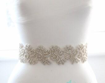 Ivory Bridal Sash/Belt With Crystal Leaf Clusters
