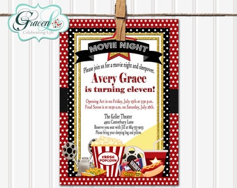 movie sleepover birthday invitation movie night sleepover invitation movie sleepover birthday party invitation - Movie Birthday Party Invitations