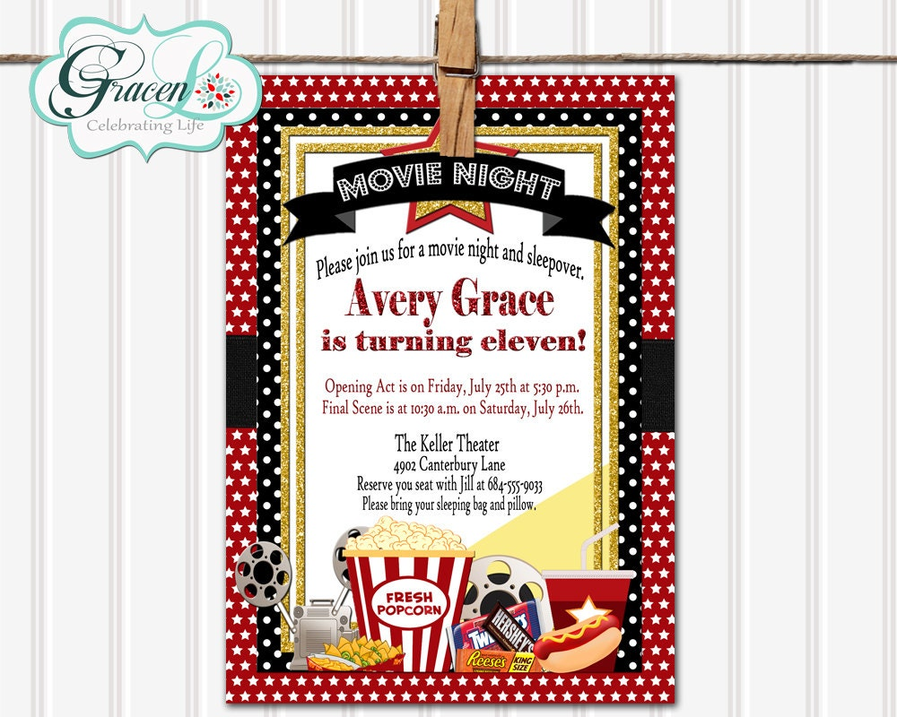 Movie Sleepover Birthday Invitation Movie Night Sleepover – Movie Night Birthday Party Invitations