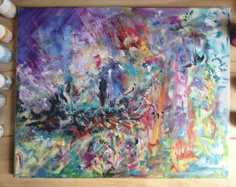 Abstract painting, Acrylic on canvas, 41x33cm, original, Attilio Candido