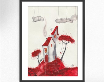 RED HOUSE print of my original art print watercolor painting surrealist print inspiring unusual art peaceful art wall deco home gift (01)