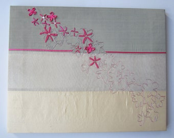 Handmade embroidered textile canvas picture