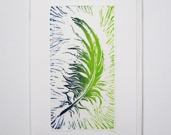 Hand printed card with feather design