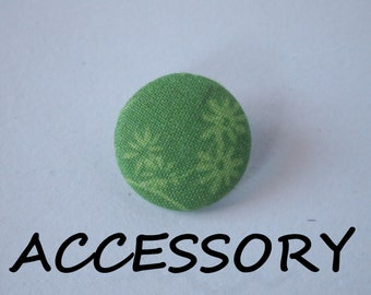 Green flower print  fabric covered buttons (adjustable ring, earrings, shoe clips, and brooch)