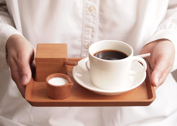 Petit Cafe Set. Wood Spoon. Wood Tray. Suger Container. Milk Pitcher