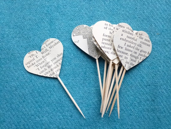 12 Paper Heart Cupcake or Sandwich Picks Vintage Book Novel Reading Literary Themed Wedding Birthday Party - by Lewisian Nice