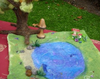 Large hand  felted play/story mat using wool and silks