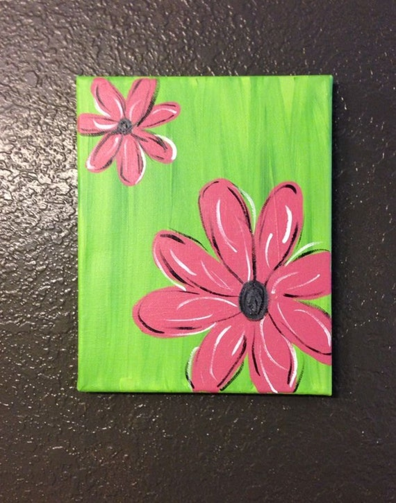 Items similar to pink or purple flower canvas painting on etsy for Step by step canvas painting for kids