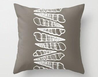 Sea Shells Pillow Cover, stacked seashells beach decor, nautical pillow, beach pillow, neutral pillow, brown pillow, c pillow