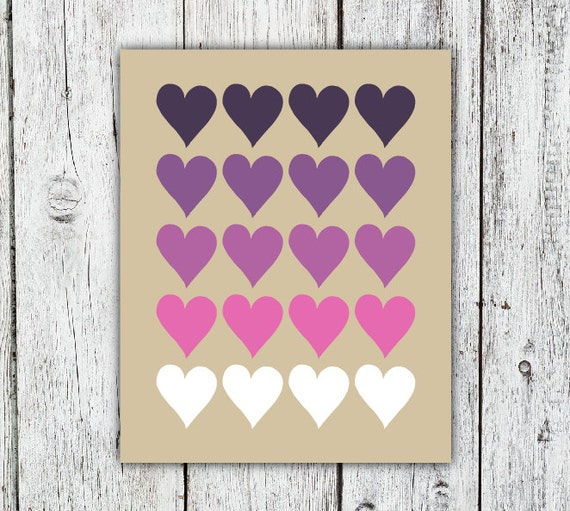 Valentine's Ombre Hearts Purple Printable Art Print, pink and radiant orchid, home decor, instant download