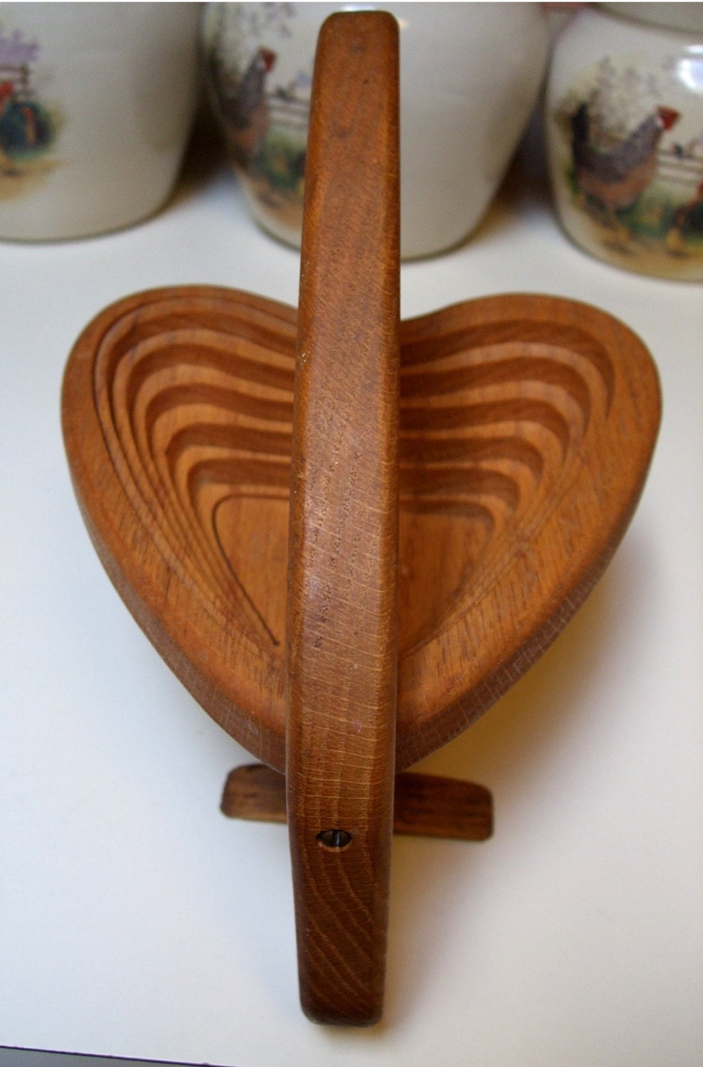 Vintage Wooden Oak Heart Shaped Candy Bowl Dish Collapsible