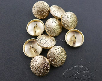 10 pcs High Quality Metal Buttons with Beautiful Relief, 15mm, Matte Gold Color, Shank Buttons