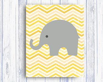 50% OFF Elephant Nursery decor, Yellow gray nusery Art Print, elephant bedding decor, Instant Download ZIGZAGYellow Art