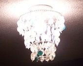 Mini Chandelier, Shade for Bare Lightbulb Ceiling Fixture, Lampworked Glass, Clear w/ Silver, Aqua, Light Blue, Teal, Mounts on Light Bulb