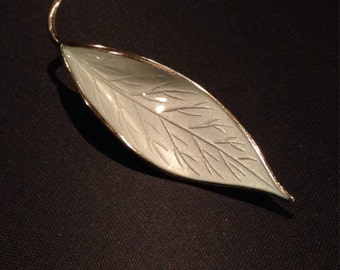 Vintage 1950's David Andersen sterling silver and white guilloche enamel leaf brooch