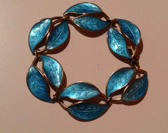 Vintage 1950's David Andersen sterling silver and light blue guilloche enamel leaf bracelet, made in Norway
